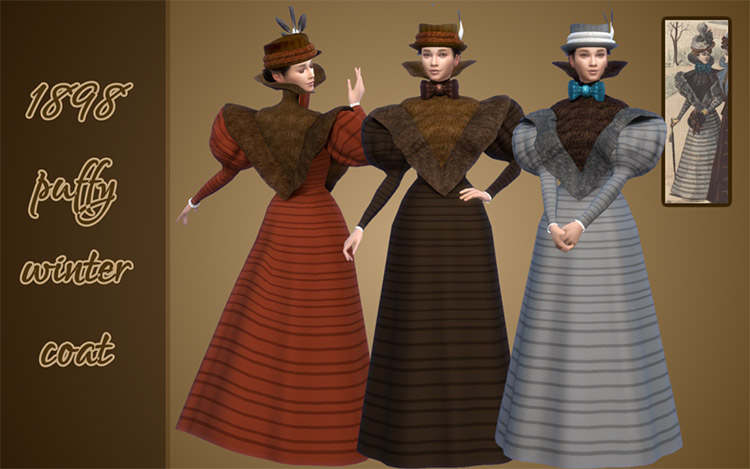 1898-style Puffy Coat Dress for The Sims 4