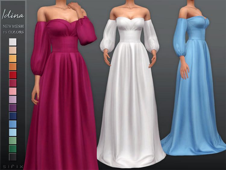 Idina long dress CC for The Sims 4