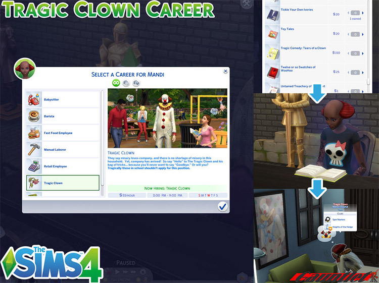 Tragic Clown Career Mod Preview in The Sims 4