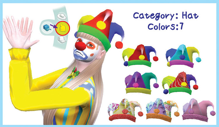 Traditional Clown Hat CC for The Sims 4