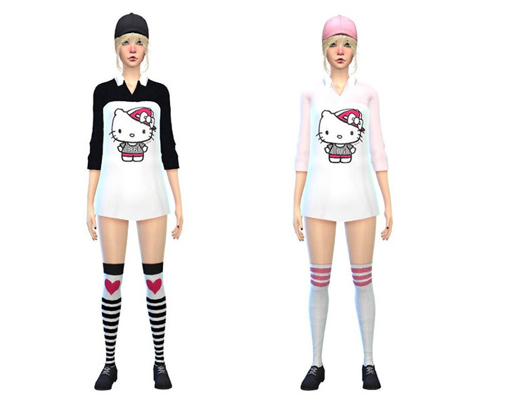 Hello Kitty Body Shirt for The Sims 4