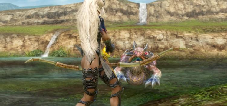 Fran battling a frog in Final Fantasy XII: The Zodiac Age