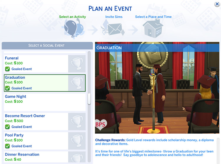 Graduation Event Mod for The Sims 4