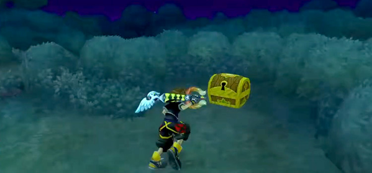 Sora at Starry Hill Treasure Chest in Kingdom Hearts HD 2.5 Remix