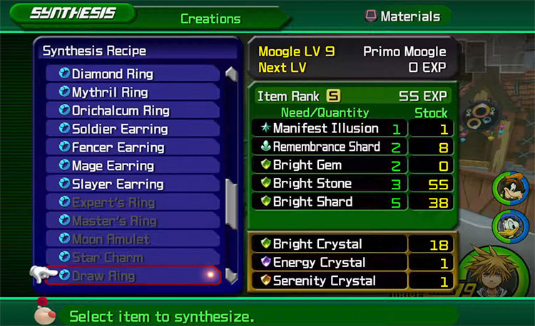Draw Ring in Moogle Synthesis Shop Menu / KH 2.5 HD
