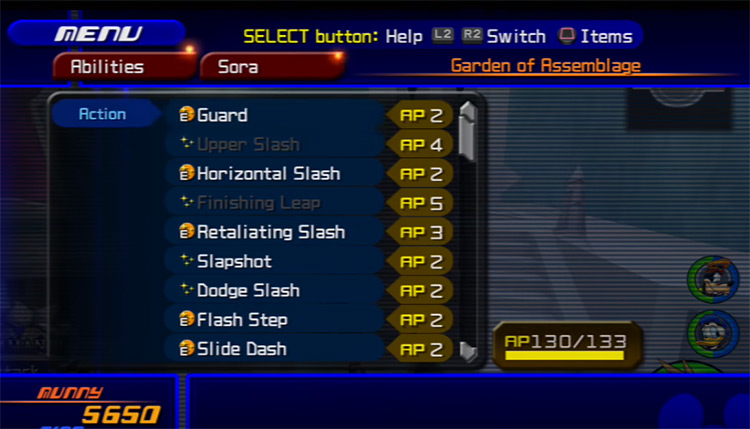Abilities menu screenshot in KH 2.5 HD