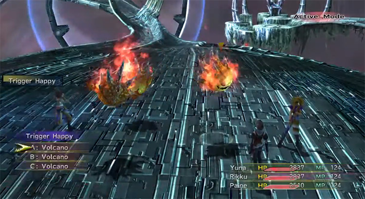 Trigger Happy battle screenshot from FFX-2 HD