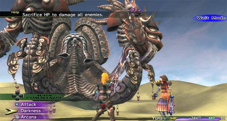 Rikku as Dark Knight Dressphere in battle / FFX-2 HD