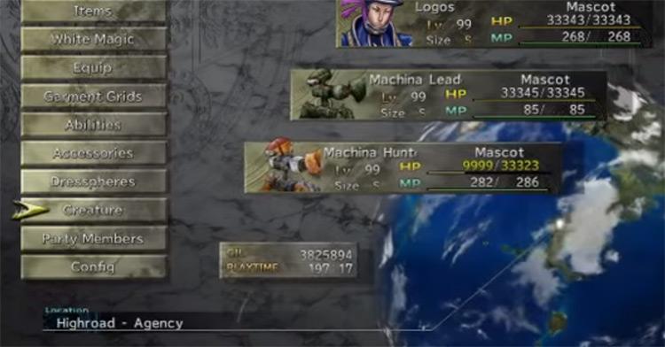 FFX-2 HD customized fiend team menu