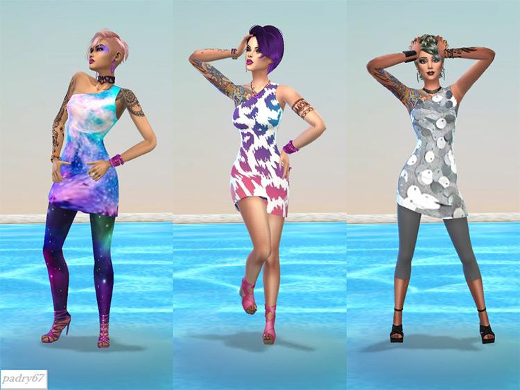 Custom disco-themed dress CC for The Sims 4