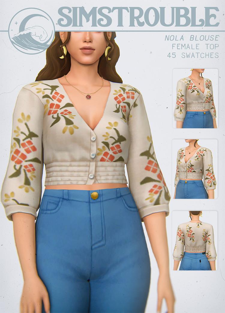 Nola Blouse Design for The Sims 4