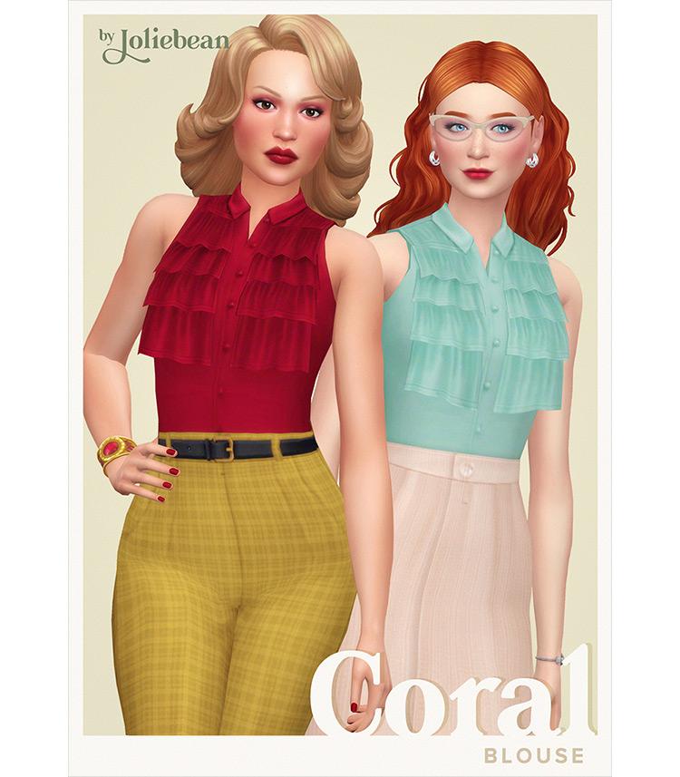 Coral Blouse / Sims 4 CC