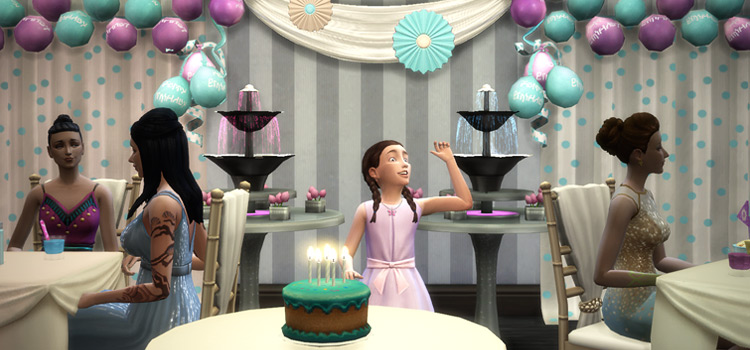 Little girl at bridal shower in The Sims 4