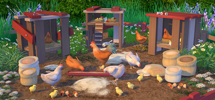Custom chickens CC set for The Sims 4