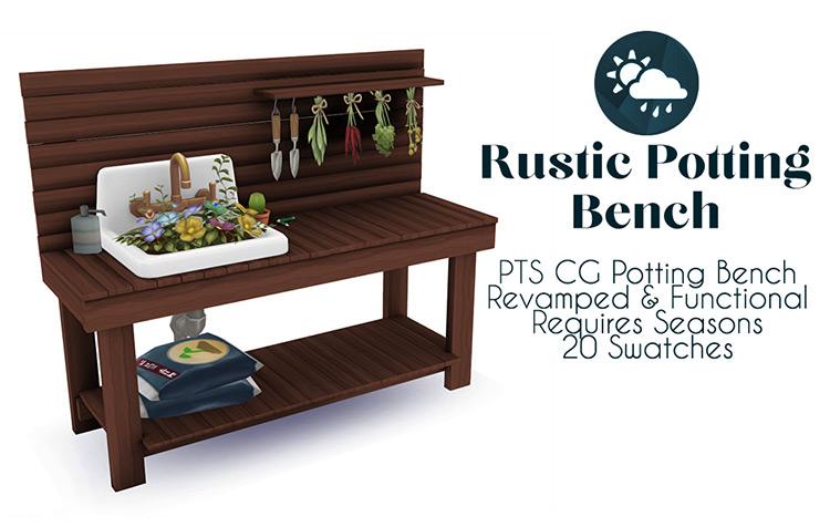 Rustic Potting Bench Furniture / Sims 4 CC