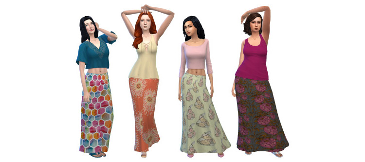 Hippie Skirts / Sims 4 CC