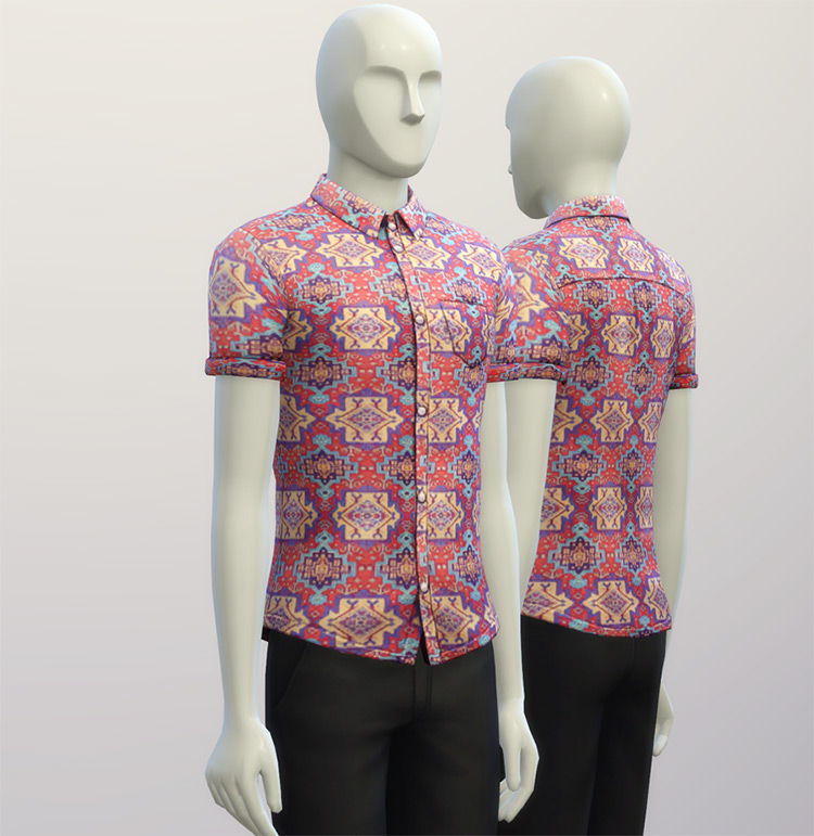 Cuffed Shirts Hippie Pattern for The Sims 4
