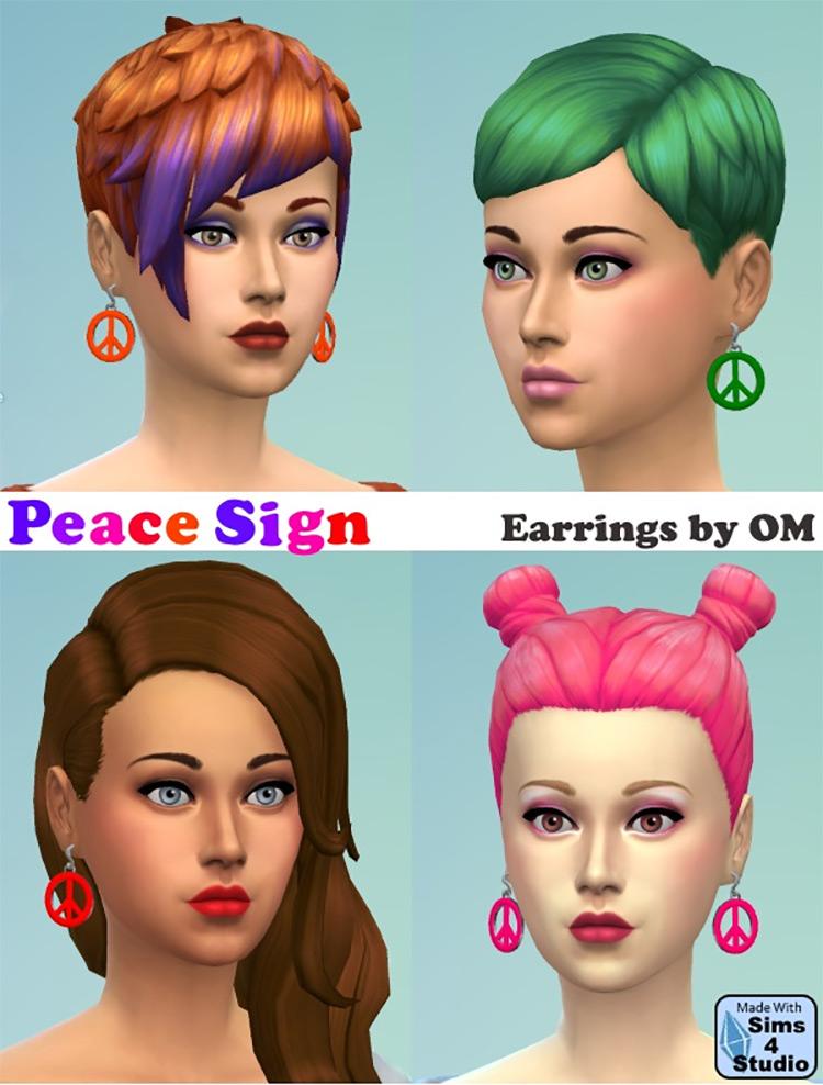 Peace Sign Earrings / Sims 4 CC