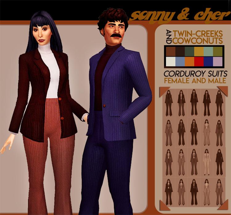 Custom 60's Corduroy Suits / Sims 4 CC