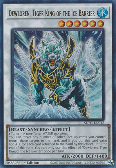 Dewloren, Tiger King of the Ice Barrier YGO Card