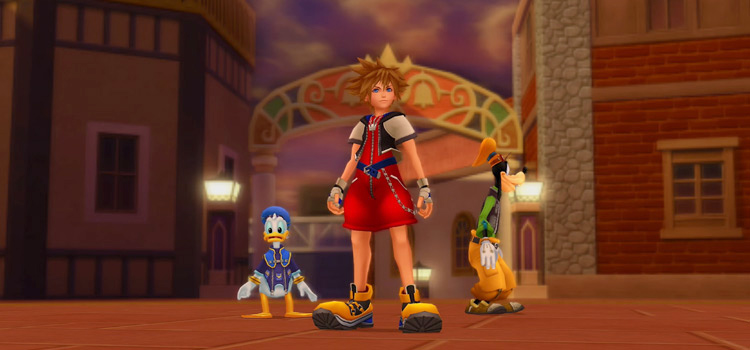 Sora, Donald & Goofy in Twilight Town / KH2.5 HD Screenshot