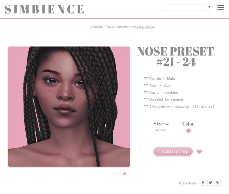 Nose Presets 21 - 24 for Sims 4