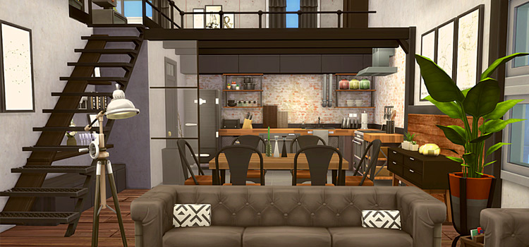 Industrial loft apartment interior from The Sims 4
