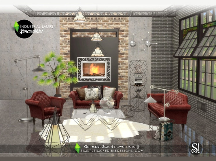 Industrial Lamps by SIMcredible! Sims 4 CC