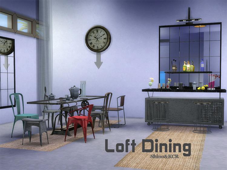 Loft Dining by ShinoKCR Sims 4 CC