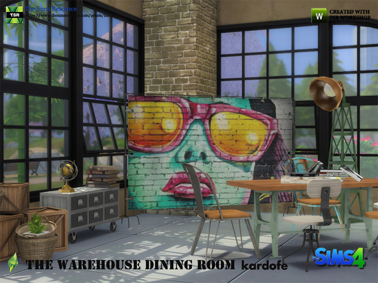 The Warehouse Dining Room by kardofe Sims 4 CC
