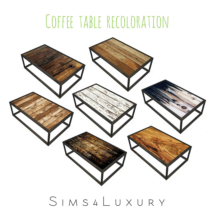 Industrial Chic Living Coffee Table Recoloration by Sims4Luxury for Sims 4