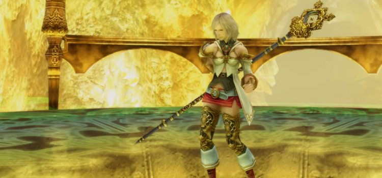 Ashe holding rod as White Mage in FFXII The Zodiac Age
