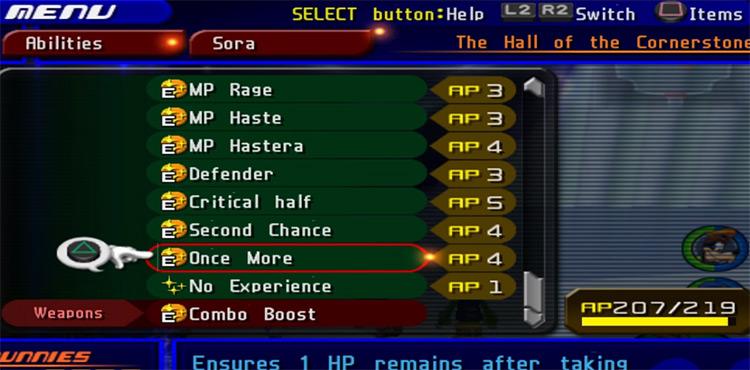 Once More ability menu KH2 screenshot
