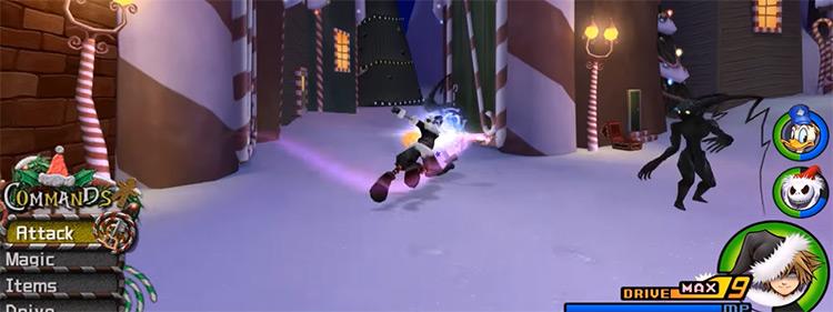 Sliding Dash battle ability screenshot in KH2