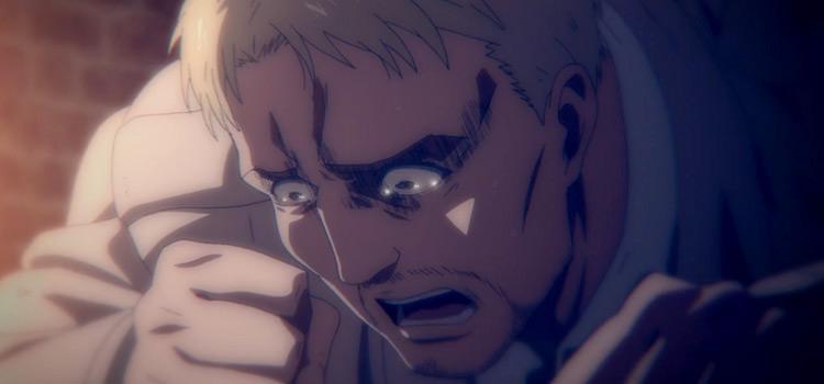 Reiner Braun crying in Attack on Titan anime