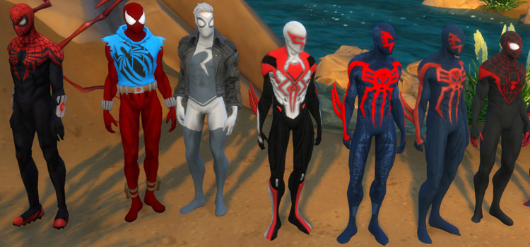 Spiderman custom Marvel costumes for The Sims 4