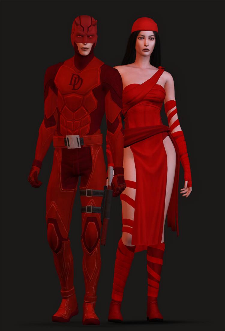 Daredevil and Elektra Costume Sims 4 CC