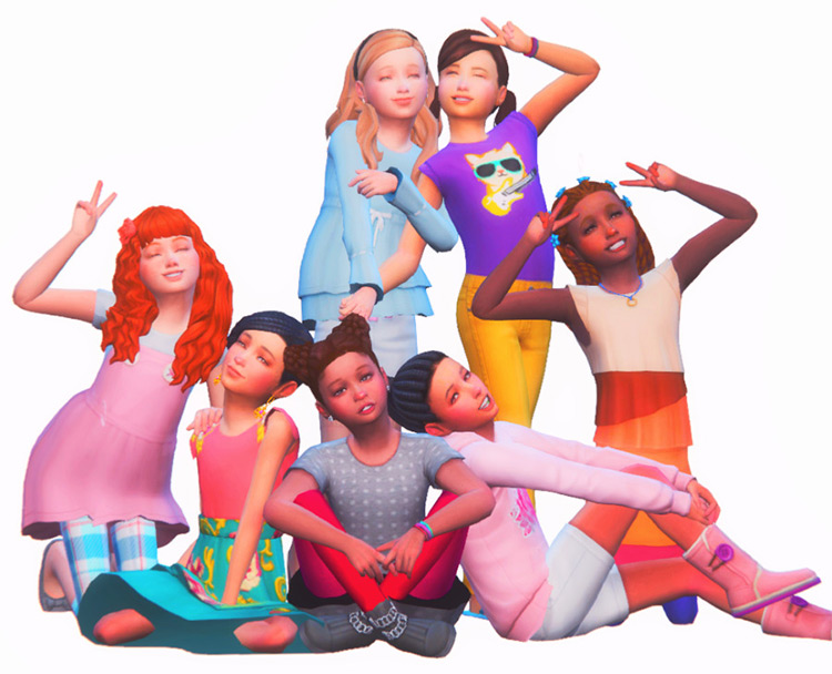 Children Poses for 7 kids / Sims 4 CC