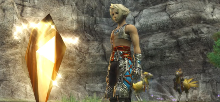 Vaan next to a teleport crystal in FFXII The Zodiac Age