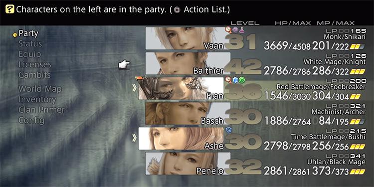 Party menu screen in Final Fantasy XII TZA