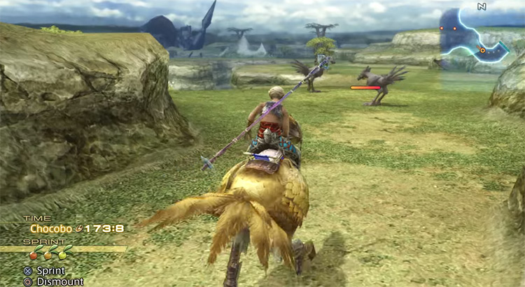 Vaan riding a chocobo in FFXII The Zodiac Age