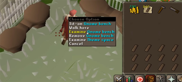 Building gnome benches / OSRS construction training screenshot