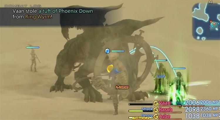 Ring Wyrm hunt battle in FFXII HD