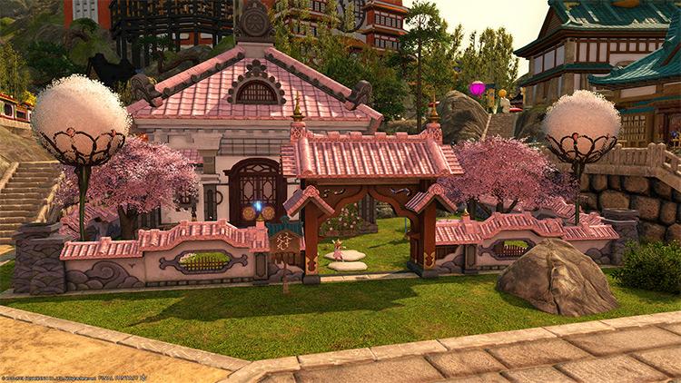 Shirogane pink kawaii house design in FFXIV