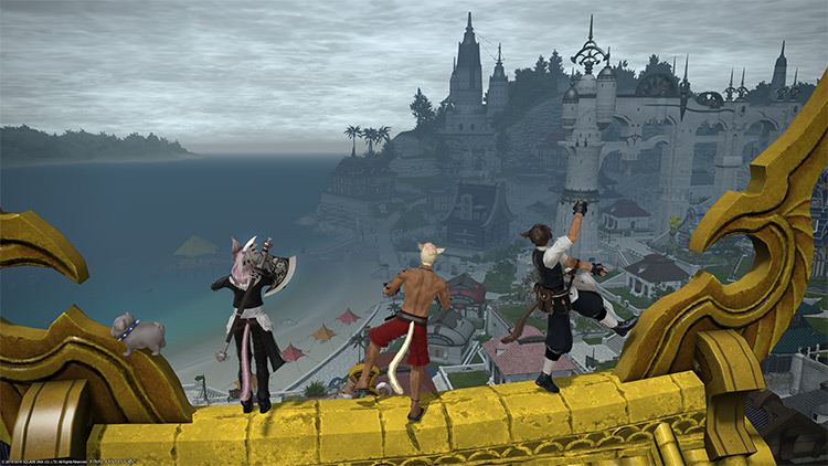Friends sitting on a house rooftop in FFXIV