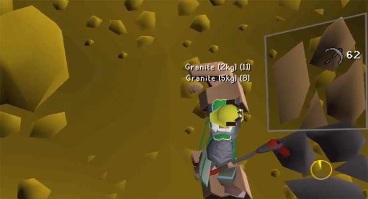 Mining rocks close-up in OSRS