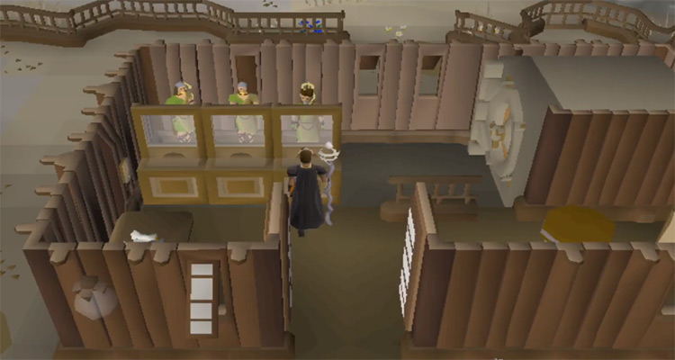 Character hunter training at a bank in OSRS