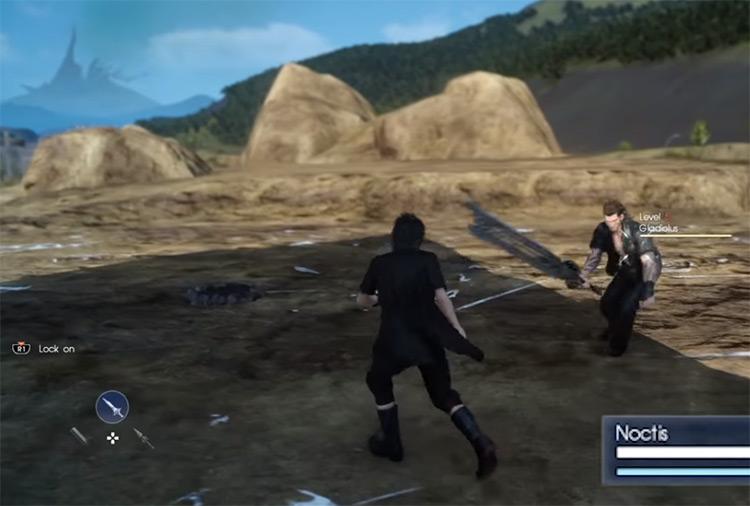 Noctis dodging in battle in FFXV