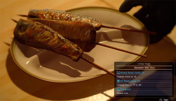 Food dish preview in FFXV