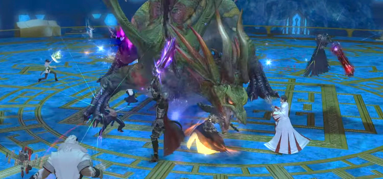 Syrcus Tower battle close-up in FFXIV